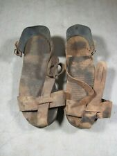 Vintage Aeroil Solid Wood Asphalt Strap On Shoes Size 2 Medium