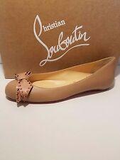 Christian Louboutin Ballalarina Spiked Bow Nude/Rose Gold Flat Shoes 36EU $695