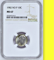 1982 No P NGC MS67 STRONG Population 41/0 With OR Without FB☗ 10c Roosevelt Dime
