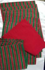 Holiday Linens! Set of 6 Each Green Red Gold Metallic Placemats & Cloth Napkins