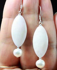 LIGHT PINK WHITE ANDEAN OPAL & WHITE PEARLS STERLING SILVER EARRINGS