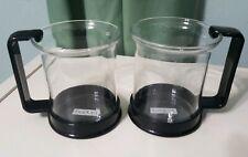 2 Bodum Glass Coffee Tea Cup Mug 6 oz Black Plastic Base and Handle
