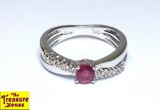 MRB Diamond Accent Ruby Solitaire 14K White Gold Double Cross Band Ring Size 7