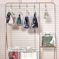 Simple Transparent Hanging Handbag Purse Bags Wardrobe Organizer Storage L