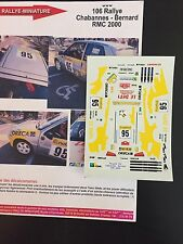 DECALS 1/43 PEUGEOT 106 CHABANNES RALLYE MONTE CARLO 2000 RMC RALLY WRC