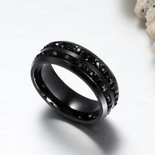 Womens Titanium Wedding Crystal Rhinestone Stainless Steel Band Ring Black Cz