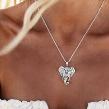 Retro Boho Tribal Antique Silver Turquoise Elephant Pendant Necklace Chain Gift