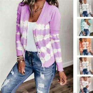 Women Long Sleeve Button Striped Cardigan Tops Knit Sweater Jacket Blouse Coat