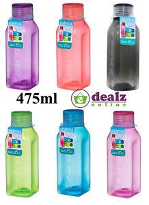 Sistema Square Water Drink Juice Bottle School Office Work Gym 475ml BPA Free