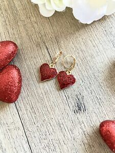 Red Glitter Heart Huggie Hoop Women's Earrings New