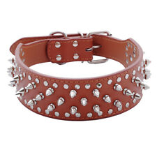 BROWN Metal Spiked Studded Leather Dog Collar Pit Bull Rivets L XL Large Breeds