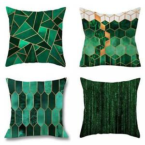 45cm Square Geometric Green Decorative Cushion Cover Abstract Sofa Pillow Cover