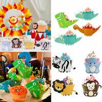 12pcs Birthday Party Jungle Safari Animals Cupcake Cake Wrapper Toppers Decor