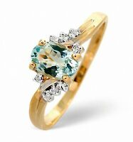 Aquamarine Ring Diamond Engagement Yellow Gold Solitaire Cluster Ring Appraisal