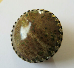 Vintage 1970s round polished brown Scottish agate stone brooch