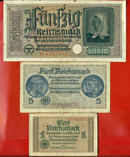 GERMANY LATVIA OCCUPIED TERRITORIES WWll SET OF 3 PC. 1, 5, 50 RM 1940-45 263