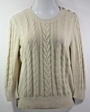 Banana Republic Sweater L Linen Blend 3/4 Sleeve Beige Cable Knit Crew Neck