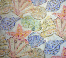 """Pastel Beach House Shell Print Fabric Silver Pearlescent Paintng Effect 72"""" BTY"""