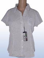 derek heart donna camicia blusa bianco righe blu taglia m medium manica corta