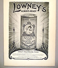 Lowney's Sweet Chocolate Powder PRINT AD - 1904 ~ hot cocoa