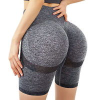 Women Summer Quick Drying Solid Color High Waist Hip Lift Sports Yoga Shorts