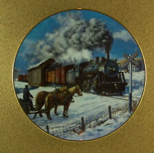 Winter Rails Country Crossroads Plate Ted Xaras Train Winter Railroad Horse