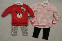Baby Toddler Girls 12 18 mo Nannette 2 Piece Red or  Pink Top Leggings Outfit