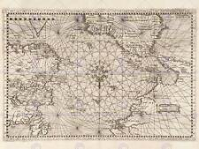 Map Atlantic Classical Nautical Art Naviguer Ocean Art Print Poster Bb8224