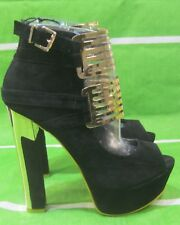 "new ladies Black/Gold 6""Block High Heel 2""Platform Sexy Shoes Size 6"