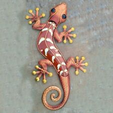 "Large Handcrafted 24"" Gecko Metal Glass Copper Finish Wall Decor Indoor Outdoor"