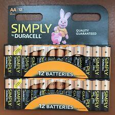 24 Duracell AA Pilas Alcalinas Paquete Ahorro De Energía LR6 MN1500 Batería Larga Exp