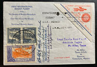 1936 McAllen TX USA First Rocket Mail Flight cover FFC To Mexico Pilot Signed