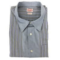 Replay Shirt Mens Regular Fit Cotton Blue Striped Long Sleeve Button Fly Size L