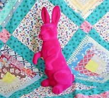 Large Hot Pink Flocked Easter Bunny Rabbit 18 inches New