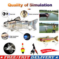ROBOTIC SWIMMING FISHING ELECTRIC LURE WOBBLERS 4-SEGEMENT USB RECHARGEABLE