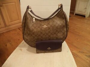 Coach Large Harley Hobo Bag With Wallet Khaki Signature Eggplant Color Trim  EXC