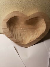 "Decorative Paulownia Carved Wood Heart Bowl 9 1/2"" x 7"" NEW"
