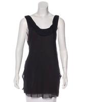 VERA WANG Silk Sleeveless Tunic XL (12) Grey Silk Top Shirt Blouse