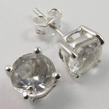 Girl's Stud Earrings White CRYSTAL QUARTZ Gemstones 925 Solid Sterling Silver