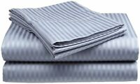 King Size Light Blue 400 Thread Count 100% Cotton Sateen Dobby Stripe Sheet Set