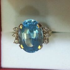 Diamond Ring with Blue color stone in 14k