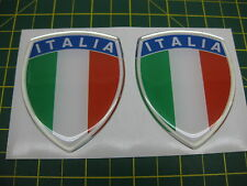 2 LARGE ITALIA DOMED SHEILD STICKERS WITH A CHROME OUTLINE 75mm x 60mm