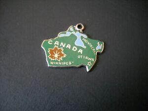 Vintage Wells Sterling Silver Dark Green Enamel Charm - Canada Maple Leaf