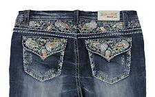 Grace in LA Women Plus Bootcut Jeans Mid Rise Floral Paisley Flap Med Blue