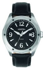 Roamer Stingray Men's Quartz Watch Black Dial Analogue Black Leather Strap