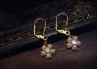 Vintage Butler & Wilson Crystal and Pearl Drop Pierced Earrings