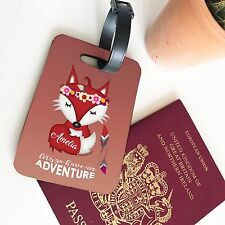 Personalised Luggage Suitcase Travel Fox Adventure Animal Glossy Wooden Name Tag