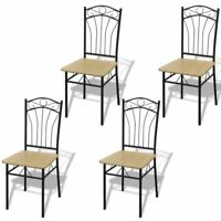 vidaXL 4x Dining Chairs Light Brown Metal Kitchen Dining Room Office Furniture