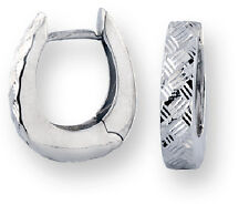 Bright Cut Hinged Huggies 10k White Gold U-Shape Earrings