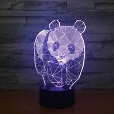 3D Cute Panda Night Light 7 Color Change LED Desk Lamp Touch Room Decor Gift